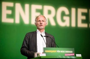 Rainer Baake tijdens een optreden bij zijn partij Bündnis 90/Die Grünen