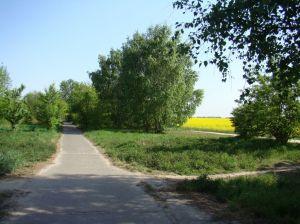 In de buurt van Rudow, ligt de stad aan de ene kant en het platteland aan de andere