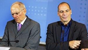 Wolfgang Schäuble en Yanis Varoufakis: niet de beste vrienden