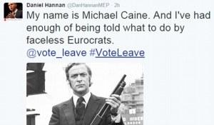 Acteur Michael Cain heeft geen zin in gezichtsloze bureaucraten in Brussel: hij is voor Brexit, alhoewel riskant